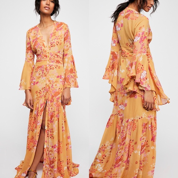 2b995799a0 Free People Semi Couture Gown Bell Sleeve Maxi